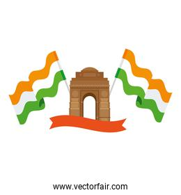 india gate, famous monument with flags of india and ribbon