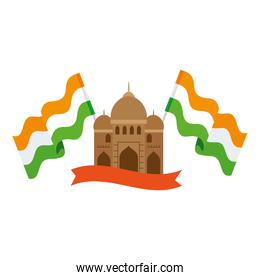 india mosque, famous monument of india with flags india and ribbon