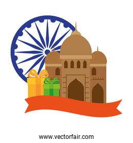 india mosque, famous monument with blue ashoka wheel indian and gift boxes