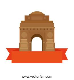 india gate, famous monument of india with ribbon