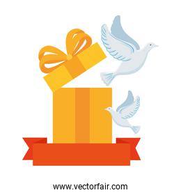 white doves with gift box and ribbon on white background