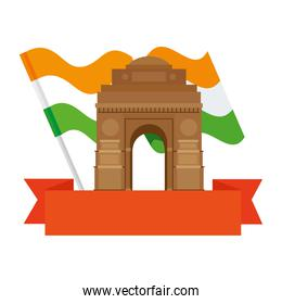 india gate, famous monument with flag of india and ribbon