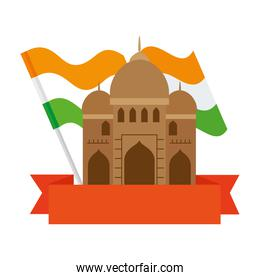 india mosque, famous monument of india with flag india and ribbon