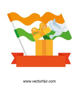 white dove coming out of gift box with flags india and ribbon on white background