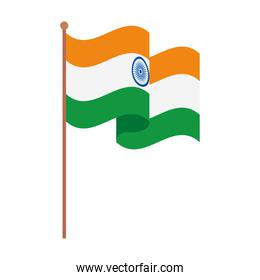 india flag, the national flag of india on a pole, on white background