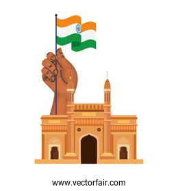 gateway, famous monument and hand with flag india