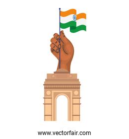 india gate, famous monument and hand with india flag