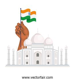 taj mahal, famous monument and hand with flag of india