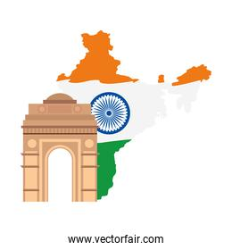 india gate, famous monument with map of india