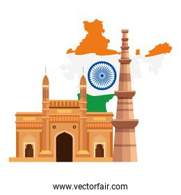 gateway with qutub minar and map india, famous monuments of india on white background