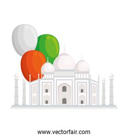 taj mahal, famous monument of india with balloons helium decoration