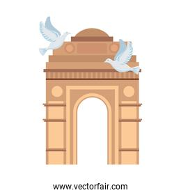 india gate, famous monument of india with white doves flying