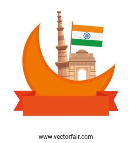 india gate with the qutub minar famous monuments and flag of india
