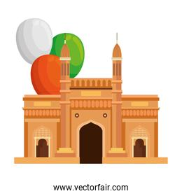 gateway, famous monument of india with balloons helium decoration