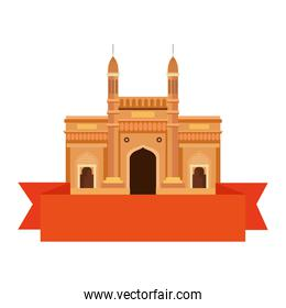 gateway, famous monument of india with ribbon on white background
