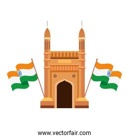 gateway, famous monument with flags of india on white background