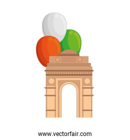 india gate, famous monument of india with balloons helium