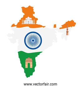 map of india with incos traditional, indian symbols