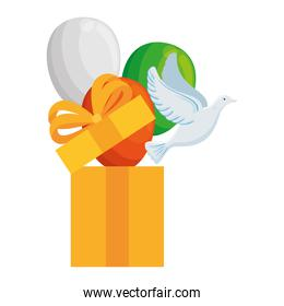 white dove coming out of gift box and balloons helium on white background