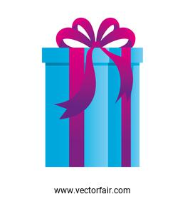 gift box present, purple and blue color, on white background