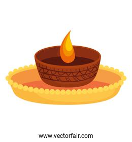 candle indian ornamental in ceramic pot on white background