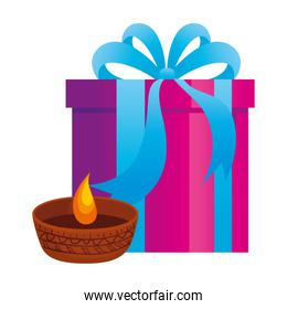 candle indian ornamental in ceramic pot with gift box on white background