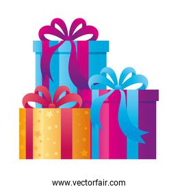 gift boxes present on white background
