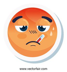 emoji with fever, face red with fever disease, on white background