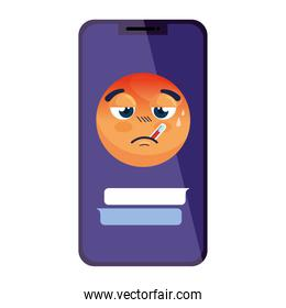emoji with fever in smartphone, face red with fever disease on smartphone