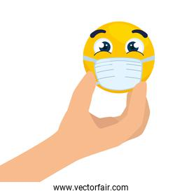 hand with, emoji wearing medical mask, yellow face using white surgical mask icon