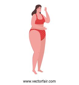 cute plump woman in swimsuit red color on white background