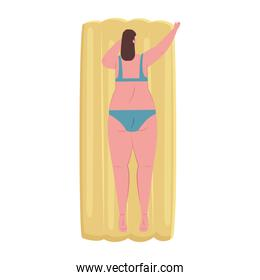 cute plump woman of back in lying down on inflatable float with swimsuit blue color