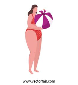 cute plump woman in swimsuit red color with ball plastic on white background