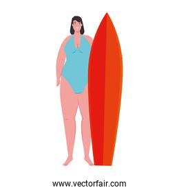 cute plump woman with surfboard in swimsuit blue color on white background