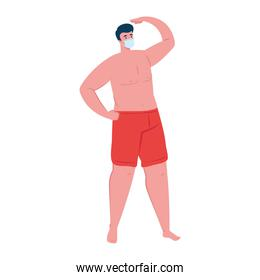 man in shorts red color, wearing medical mask, covid 19 summer vacation