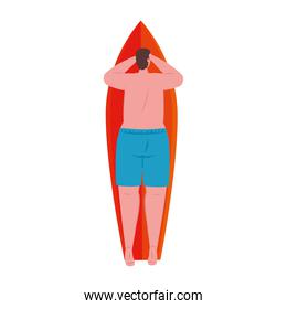 man of back in lying down on surfboard with shorts blue color on white background