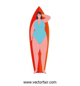 cute plump woman lying down on surfboard with swimsuit blue color on white background