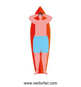 man lying down on surfboard in shorts blue color on white background