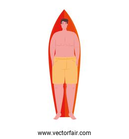 man lying down on surfboard in shorts yellow color on white background