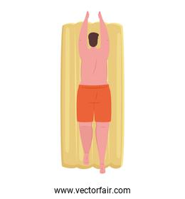 man of back in shorts orange color in lying down on inflatable float on white background
