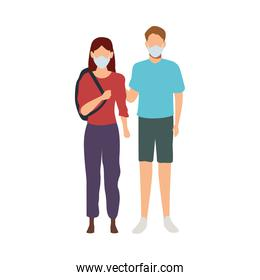 young couple wearing medical mask characters