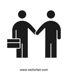 businesspeople handshake business management developing successful silhouette style icon