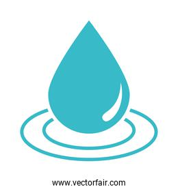 water drop wave nature liquid blue silhouette style icon