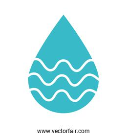 water drop with waves nature liquid blue silhouette style icon