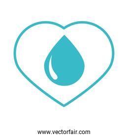 water drop love care nature liquid blue silhouette style icon