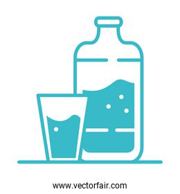 water bottle and cup nature liquid blue silhouette style icon