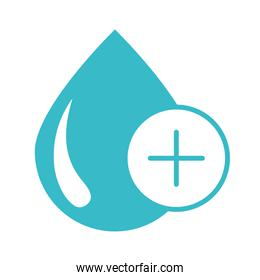 plus medical water drop nature liquid blue silhouette style icon