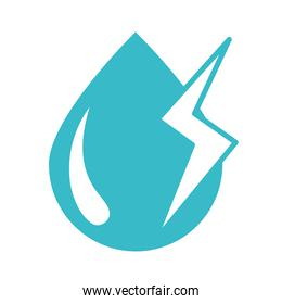 water drop thunderbolt weather nature liquid blue silhouette style icon