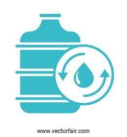 bottle water drop pure nature liquid blue silhouette style icon
