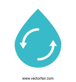 recycle water drop nature liquid blue silhouette style icon